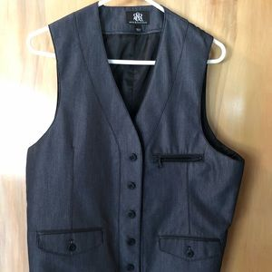 Rock & Republic Slate Gray Dress Vest Sz L